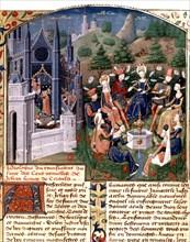 """Boccace. """"Le Décameron"""". Réunion de dames et de seigneurs dans un jardin de Florence"""