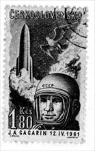 Timbre célébrant le voyage dans l'espace de Youri Gagarine
