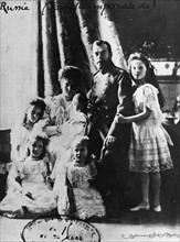 Czar Nicholas II, the czarina and their five children.