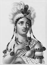 Romanticized portrait bust of an Indian woman