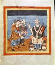 Albinus and Raban Maur offering their work to Octavius