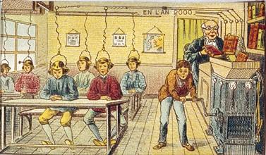 Futuristic representation of radio in school classes in the year 2000