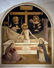Fra Angelico, The Entombment and symbols of Passion