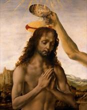 Verrocchio and Da Vinci, The Baptism of Christ (detail)