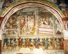 Danse macabre ornant la nef de l'église de Hrastovlje (Slovénie)
