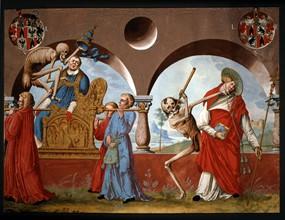 Kauw, La Danse des Morts : la Mort, le pape et le cardinal