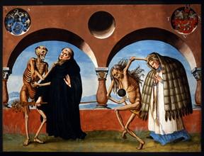 Kauw, La Danse des Morts : la Mort avec le prieur et sa vieille servante