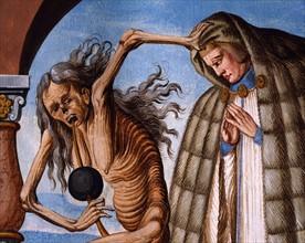 Kauw, La Danse des Morts : la Mort avec le prieur et sa vieille servante (détail)