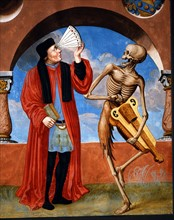 Kauw, La Danse des Morts : la Mort avec le théologien et l'astrologue (détail)