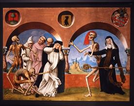 Kauw, La Danse des Morts : la Mort avec des religieux de divers grades, et l'abbesse du monastère