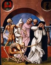 Kauw, La Danse des Morts : la Mort avec des religieux de divers grades, et l'abbesse du monastère (détail)