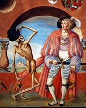 Kauw, La Danse des Morts : la Mort avec le duc et le jeune comte (détail)