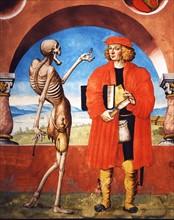 Kauw, La Danse des Morts : la Mort avec le chevalier et le percepteur des impôts (détail)
