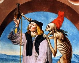Kauw, La Danse des Morts : la Mort avec l'avocat et le médecin (détail)