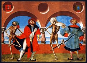 Kauw, La Danse des Morts : la Mort avec le bourgeois et le marchand