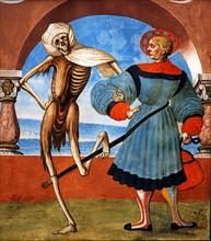 Kauw, La Danse des Morts : la Mort avec le bourgeois et le marchand (détail)