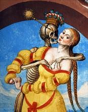Kauw, La Danse des Morts : la Mort avec la veuve et la jeune fille (détail)