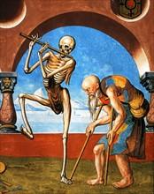 Kauw, La Danse des Morts : la Mort avec l'artisan et le mendiant (détail)