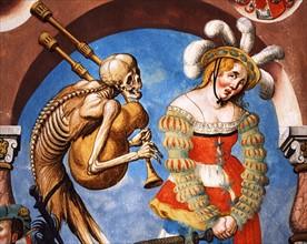 Kauw, La Danse des Morts : la Mort avec le soldat mercenaire et la femme prostituée (détail)