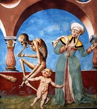 Kauw, La Danse des Morts : la Mort avec l'imbécile et l'enfant (détail)