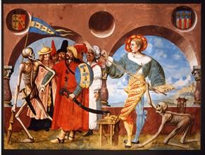 Kauw, La Danse des Morts : la Mort emporte avec elle un groupe d'infidèles et le peintre Niklaus Manuel