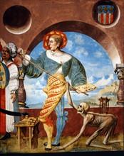 Kauw, La Danse des Morts : la Mort emporte avec elle un groupe d'infidèles et le peintre Niklaus Manuel (détail)