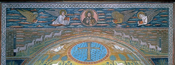 Basilica of Sant'Apollinare in Classe, Ravenna, frieze, arch, and upper part of the apse