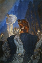 """""""La Divine Comédie"""", l'Enfer : Les Simoniaques plongés la tête en bas dans des trous circulaires, la plante des pieds brûlée par des flammes"""