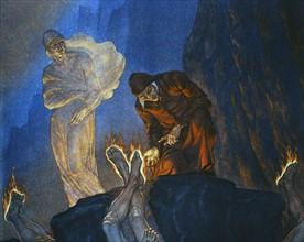 """""""La Divine Comédie"""", l'Enfer : Dante et Virgile auprès des Simoniaques"""