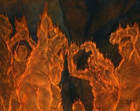 """""""La Divine Comédie"""", l'Enfer : les Conseillers perfides enveloppés de flammes"""