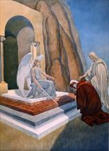 """""""La Divine Comédie"""", le Purgatoire : Dante et Virgile devant  l'ange gardien de la porte du Purgatoire"""