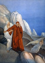 """""""La Divine Comédie"""", le Purgatoire : Dante et Virgile touchés par la lumière de l'ange de la miséricorde"""