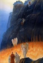 """""""La Divine Comédie"""", le Purgatoire : Dante avec l'ange de la chasteté et l'ange du paradis terrestre"""