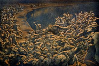 """""""La Divine Comédie"""", l'Enfer : Les âmes damnées passent par l'Achéron et sont poussés par Charon"""