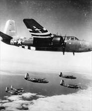 B26 Marauder survolant la Normandie (juin 1944)