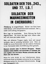 Tract lancé par l'aviation alliée aux troupes allemandes à Cherbourg (juin 1944)