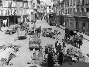 Le marché de Cherbourg après la libération de la ville  (juin 1944)