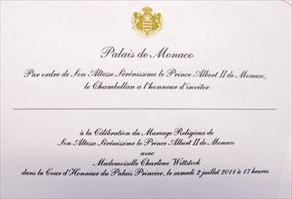 Carton d'invitation du mariage entre Albert II de Monaco et Charlène Wittstock