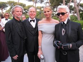 Le Prince Albert de Monaco, Charlene Wittstock, Karl Lagerfeld et le Dr. Hermann Bühlbecker