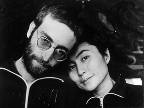 With wife YOKO ONO