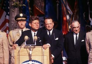 Le Président John F. Kennedy lors d'un discours à Berlin