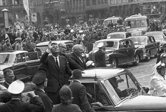 Le Président John F. Kennedy lors d'un voyage à Francfort le 25 juin 1963