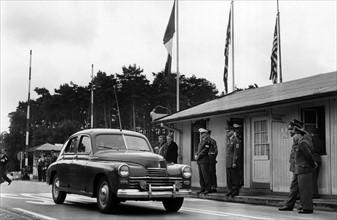 Soviet car attending US troop transport to Berlin through Soviet zone