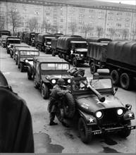 US troop transport before the departure to Berlin through Soviet zone