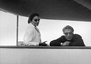 Maria Callas et Aristote Onassis, vers 1960
