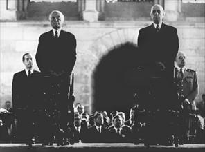 Le Chancelier allemand Konrad Adenauer et le Général de Gaulle