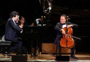Lang-Lang, pianiste chinois et Yo-Yo Ma, violoncelliste américain au Carnegie Hall de New-York
