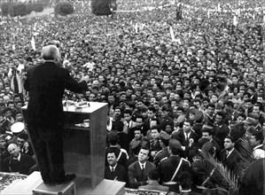Habib Bourguiba lors d'un de ses nombreux discours