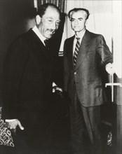Anouar el Sadate et Mohammed Reza Shah Pahlavi Le Caire, 1980