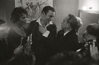 Yves Montand, Sophia Loren et Henri-Georges Clouzot (1958)